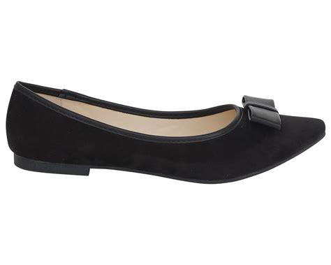 flat shoes with bow womens faux suede bow ballet dolly pumps flats