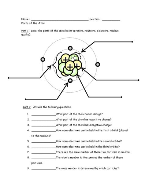 atom diagram worksheet parts of an atom worksheet lesupercoin printables worksheets