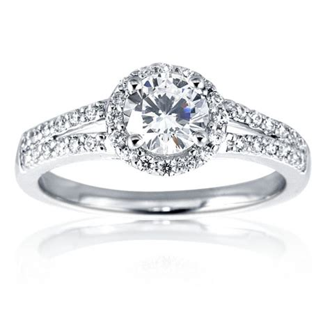 Ring With Diamonds Around It by Mazal Brilliant Cut Halo Engagement Ring