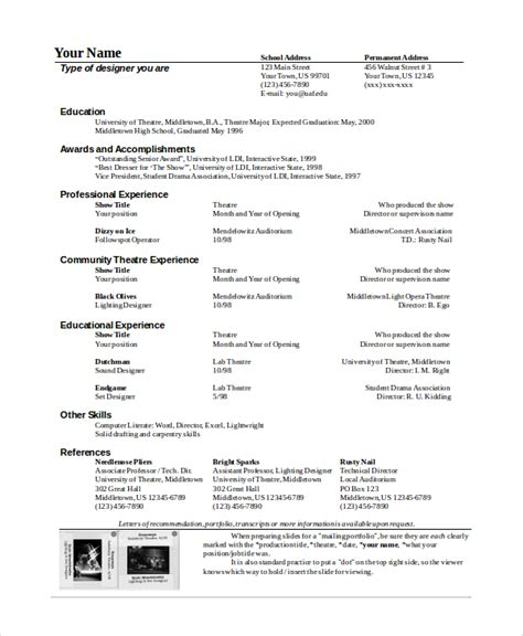 Theater Resume Template by Theater Resume Template 6 Free Word Pdf Documents