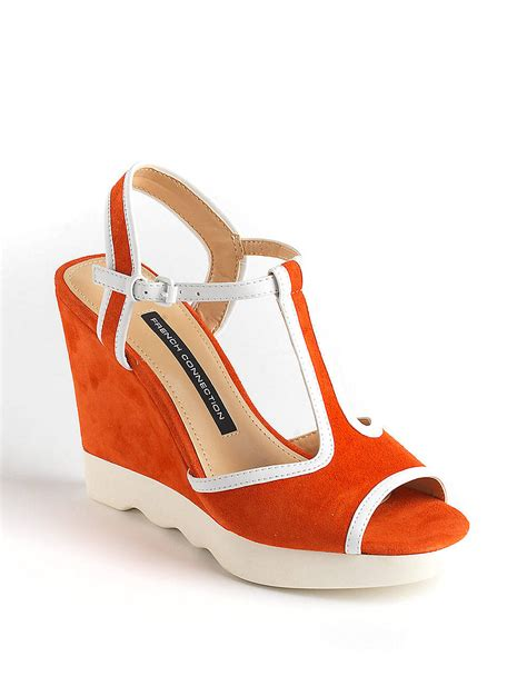 coral wedge sandals connection jackie suede wedge sandals in orange