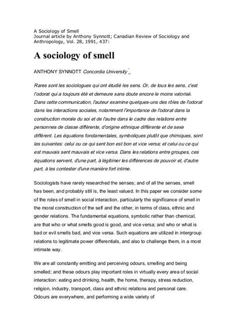 Sociology Essay by A Sociology Of Smell