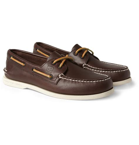 sperry top sider shoes lyst sperry top sider leather boat shoes in brown for