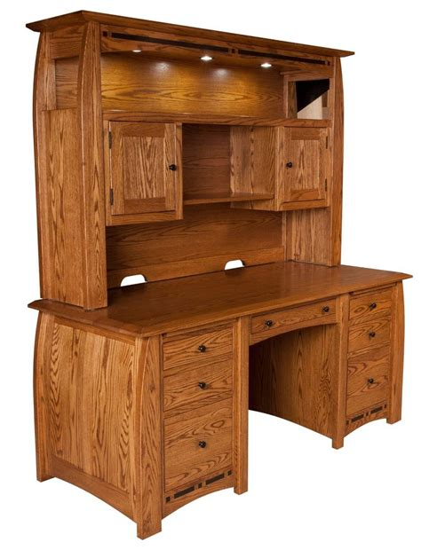 Real Wood Computer Desk 68 Quot Amish Boulder Creek Executive Computer Desk Hutch Home Office Solid Wood Ebay