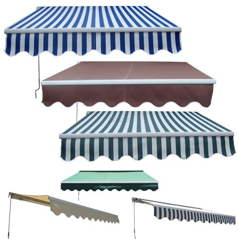 Retractable Umbrella Awning garden patio manual aluminium retractable awning canopy sun shade shelter new ebay