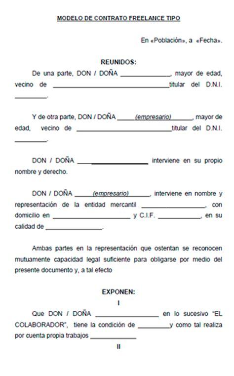 contrato general de empleo descargue plantillas de modelo contrato freelance modelo contrato