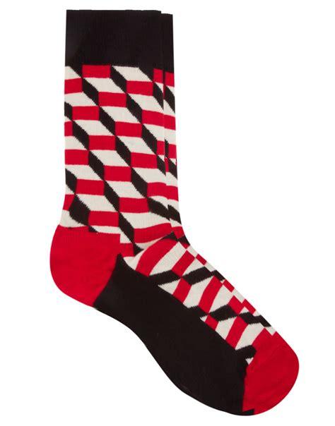 red pattern socks happy socks cube pattern socks in red for men lyst