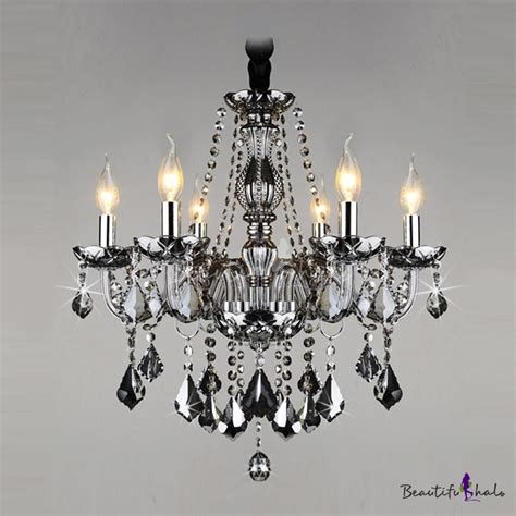 Gracefully Smoky Gray Crystal Strands And Droplets 6 Light Chandelier Strands