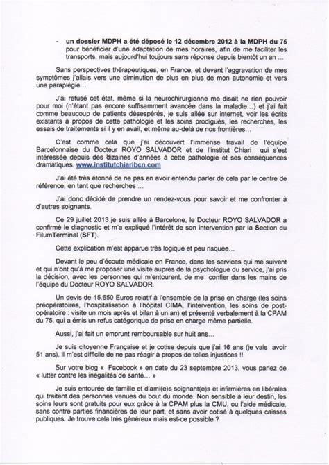 Lettre De Remerciement Ministre Lettre Au Ministre Sociale Et De La Sant 233 Arnold Chiari Syringomyelie Alternative