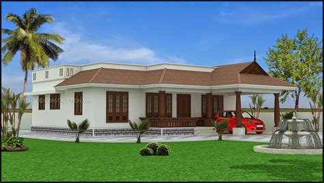 1 story houses kerala model single floor house plans