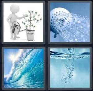 4 pics 1 word answer for plant, shower, wave, bubbles