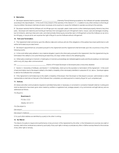 software contract agreement template software development agreement template free