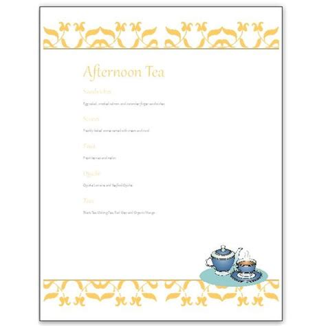 Afternoon Tea Menu Template Hosting A Tea Download An Afternoon Tea Menu Template For Ms Publisher