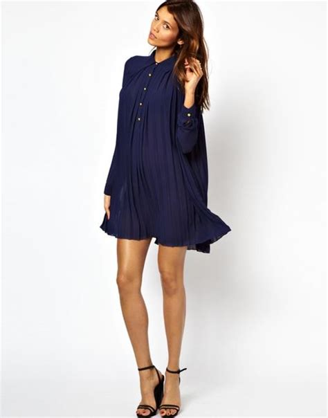 swing shirt dress tfnc pleated swing shirt dress in blue navy lyst
