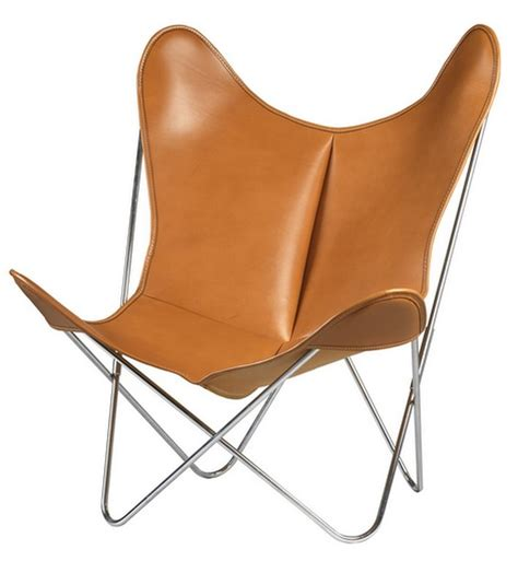 aa butterfly armchair leather chromed structure