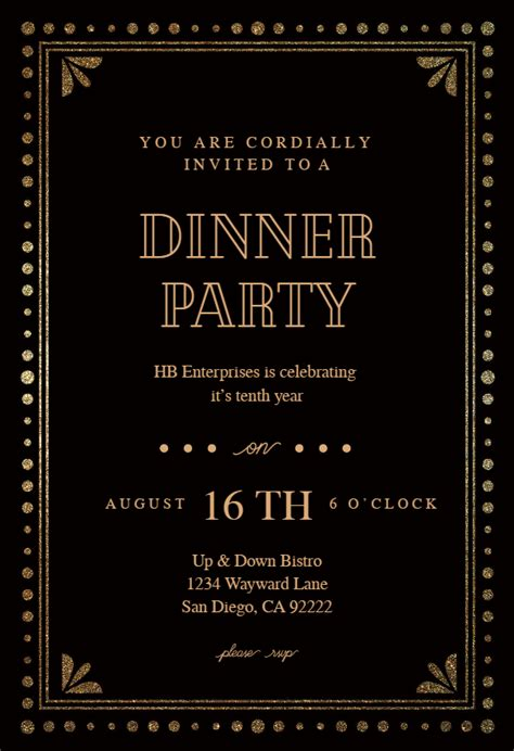 fancy night dinner party invitation template