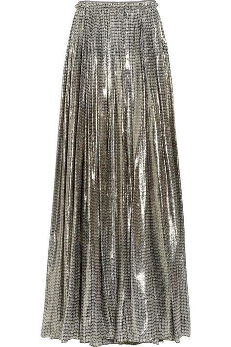 lanvin printed silk blend lam 233 maxi skirt in gold lyst