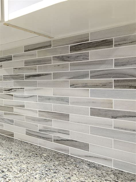 marble subway tile kitchen backsplash modern white gray subway marble backsplash tile