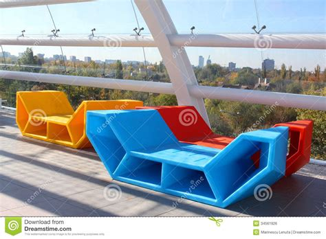 colored benches playground for children royalty free stock image image 34561926