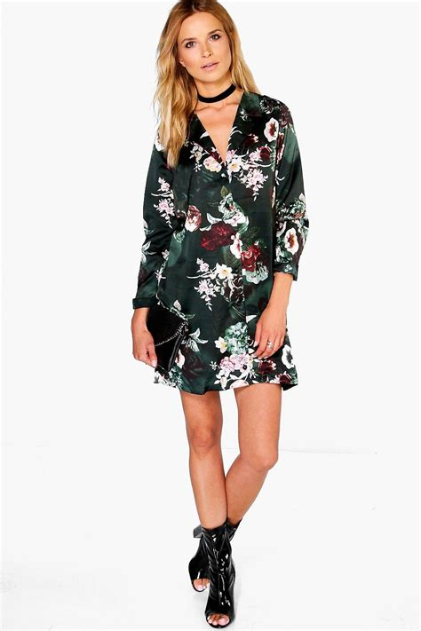 Shirt Dress Floral hanalei floral pyjama shirt dress at boohoo