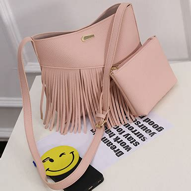 Bag In Bag Set 2 Pcs Pink 2 pcs bag set angled tassel fringe handbag matching