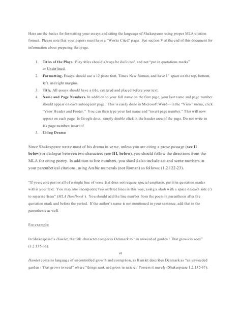 Macbeth Essay Citations by Mla Formatting Shakespeare
