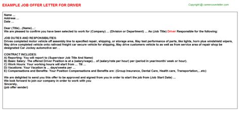 appointment letter sle for a driver driver offer letters