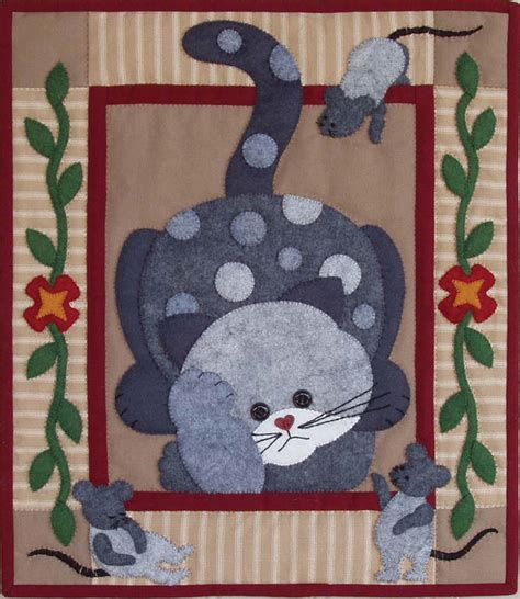 Applique Cat Quilt Patterns by Spotty Cat Wall Quilt Kit Easy For Beginners Applique