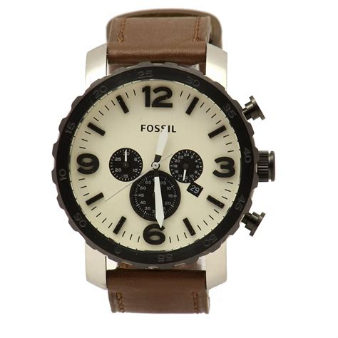 Fossil Original Jr 1436 Leather Stainless Steel fossil s nate jr1390 brown leather silver chronograph