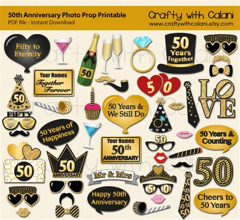 free printable photo booth props 50th birthday 50th anniversary party photo booth prop fiftieth wedding