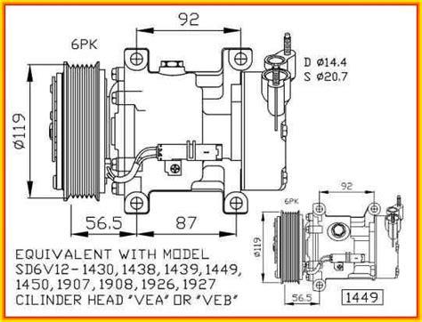 Kompresor Type Sanden Peugeot Type 306 Or 405 kompresor klimatizace 0002 nrf citroen berlingo c2 c3 nemo