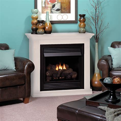 vail 26 inch white vent free gas fireplace mantel package