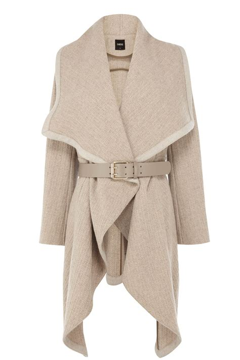 draped coats oasis mini texture drape coat in natural lyst