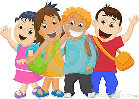 clipart bambini a scuola gruppo di bambini che vanno a scuola insieme illustrazione