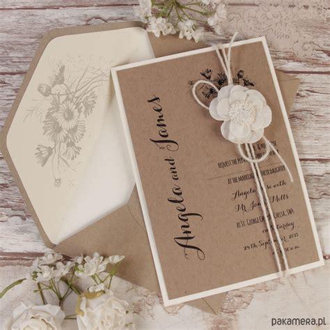 Handmade Naturals - zaproszenia 蝗lubne rustykalne koronki 蝴lub zaproszenia