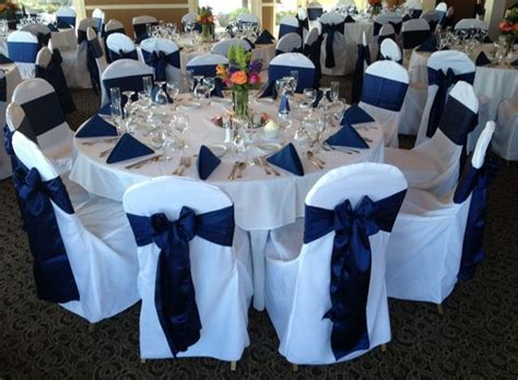 navy blue chair covers for weddings wedding navy blue satin sash tie on white poly chair cover