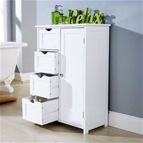 Bathroom Storage Units Free Standing Bathroom Cabinet Unit Storage White Wood Cupboard Free Standing 4 Drawer Bedroom Ebay