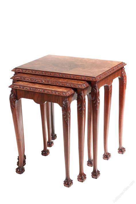 walnut nest of tables burr walnut nest of tables antiques atlas