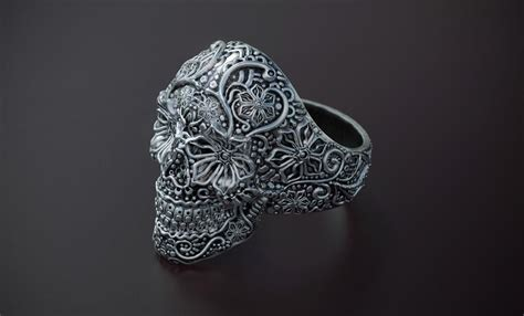 zbrush tutorial jewelry sugar skull ring modeled in zbrush rendered in keyshot by