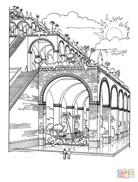 Coloring Pages Hanging Gardens Of Babylon | hanging gardens of babylon coloring page free printable