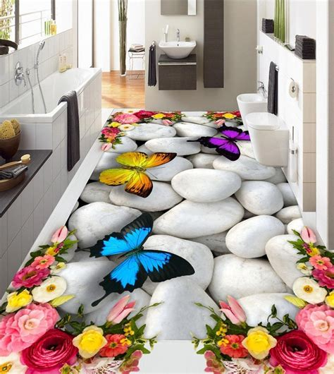 Sticker Dinding 3d Keroppi large 3d wall stickers 3d roses butterfly pebbles wall