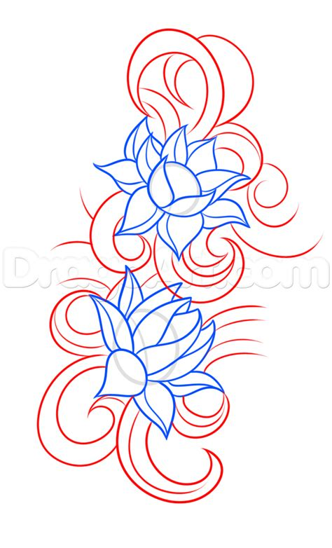 how to draw tattoos step by step how to draw a lotus flower step by step tattoos