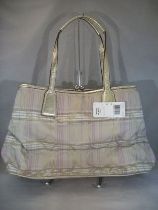 Coach Htons Suede Plaid Carryall by Free Coach F17213 Signature Striped Tartan Plaid Carryall