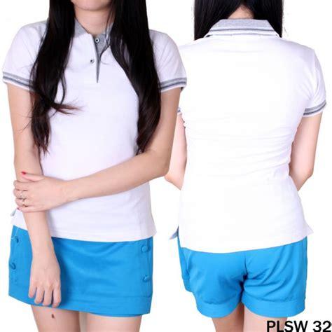 Kaos Polo Wanita Plsw 01 kaos pendek wanita kerah polo cotton pique putih kerah abu