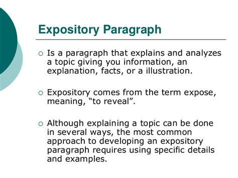 Expository Definition Essay Topics by The Expository Paragraph