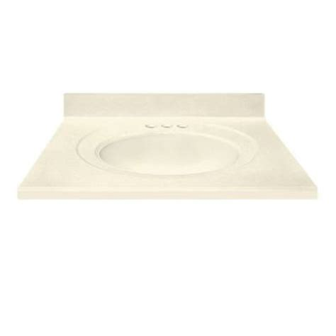 us marble 31 in cultured marble vanity top in solid biscuit color with integral backsplash and