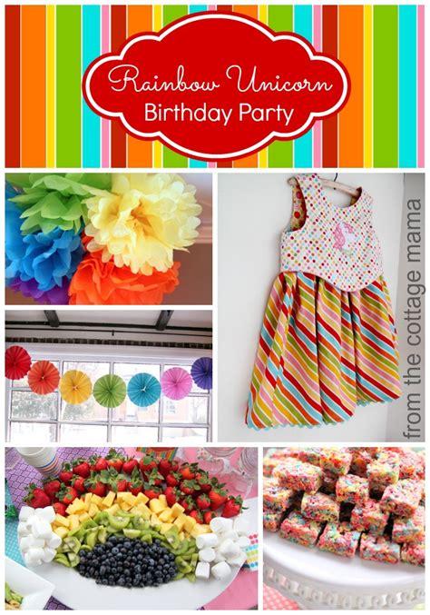 Rainbow Birthday Decorations by Rainbow Unicorn Birthday With Free Printables The