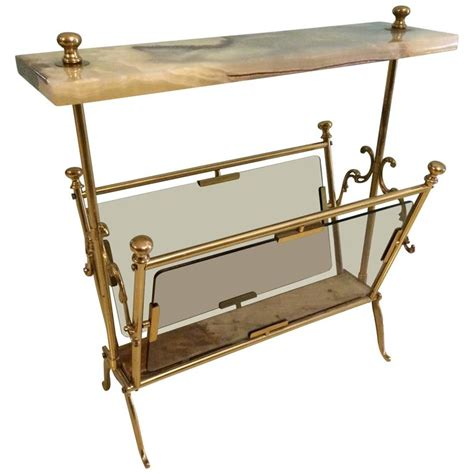 Table With L And Magazine Rack by Brass Magazine Rack With Marble Table At 1stdibs