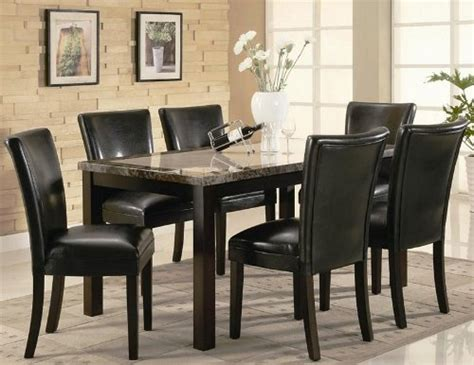 Black Parsons Dining Table 7pc Dining Table And Black Parson Chairs Set In Cappuccino Finish Furniturendecor