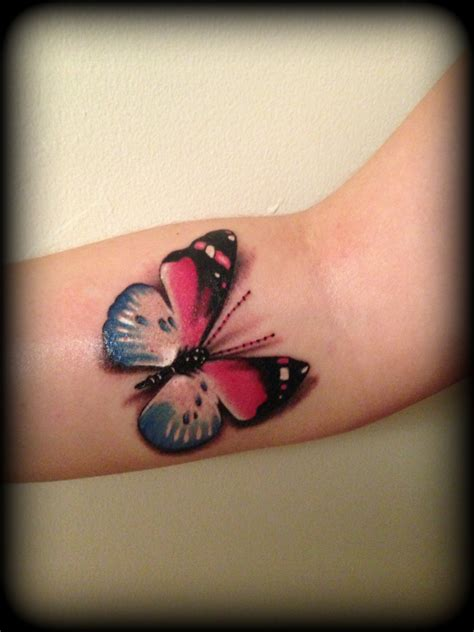 butterfly tattoo realism realistic pink and blue 3d butterfly tattoo tattooshunt com